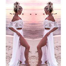 Women Crop Top And Skirt Beach Women Sets Clothes 2019 Womens Suits Set 2 Pieces White Lace Solid Two Piece Set Summer Tracksuit(China)