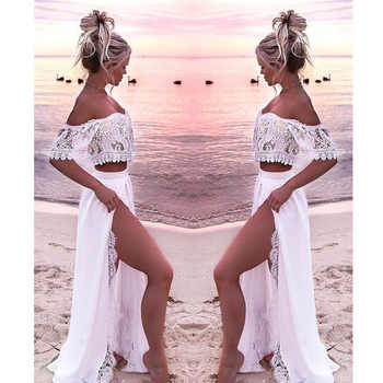 Women Crop Top And Skirt Beach Women Sets Clothes 2019 Womens Suits Set 2 Pieces White Lace Solid Two Piece Set Summer Tracksuit - DISCOUNT ITEM  36% OFF All Category
