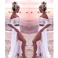 Women Crop Top And Skirt Beach Women Sets Clothes 2019 Womens Suits Set 2 Pieces White Lace Solid Two Piece Set Summer Tracksuit