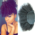 Afro rizado rizado cola de caballo cola de caballo el pelo virginal mongol del pelo humano real extensiones de cabello piezas clip honey queen productos para el cabello