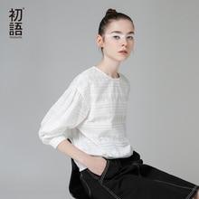 Toyouth Blouse Vrouwen Witte Shirts 2019 Herfst Katoen Jacquard Womens Tops En Blouses Losse Solid Lange Mouwen Camiseta Mujer