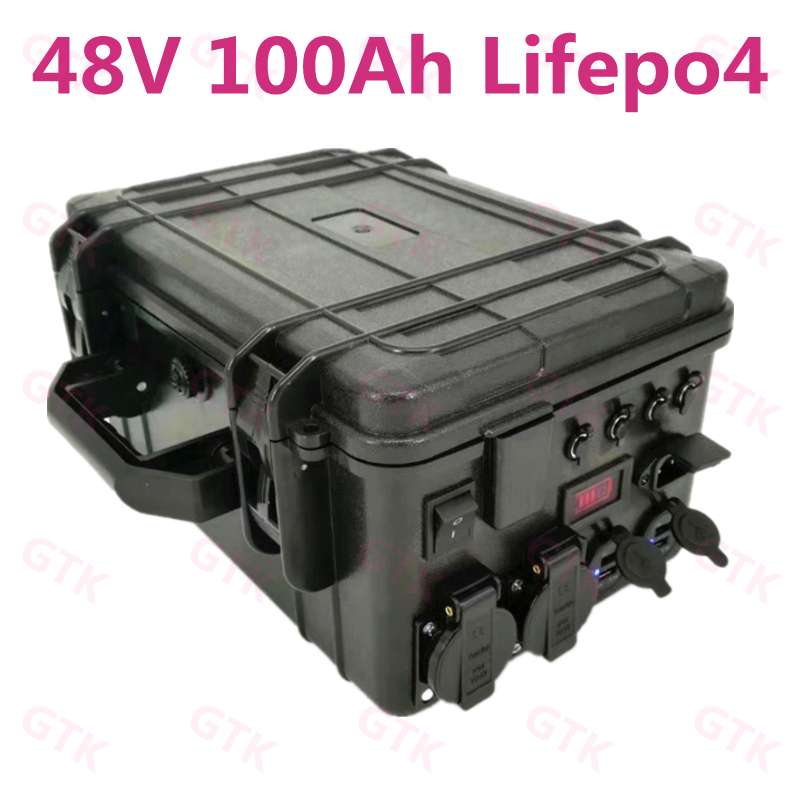High Power Lifepo4 Battery 48v 100Ah 50Ah ABS Case IP67 Waterproof Portable Energy Motor Mover Backup Power+10A Charger
