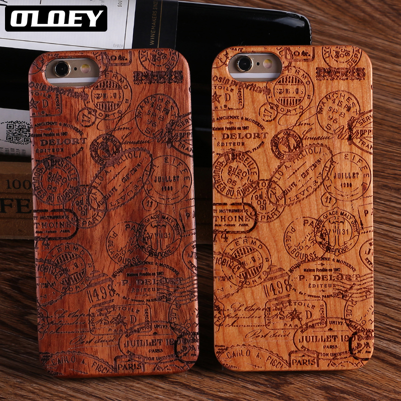 OLOEY Real Bamboo Stereo Pattern Wood Case For iPhone 7 6Plus 8 8Plus Case Coque Phone Accessories For SAMSUNG S8 S9 Plus Cover