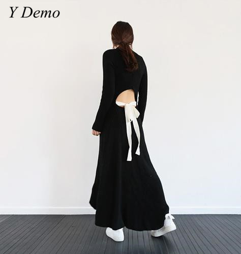 Winter Wool Knitted Dress Womens Sexy Backless Hollow Out Long Turtleneck Sweater Dress