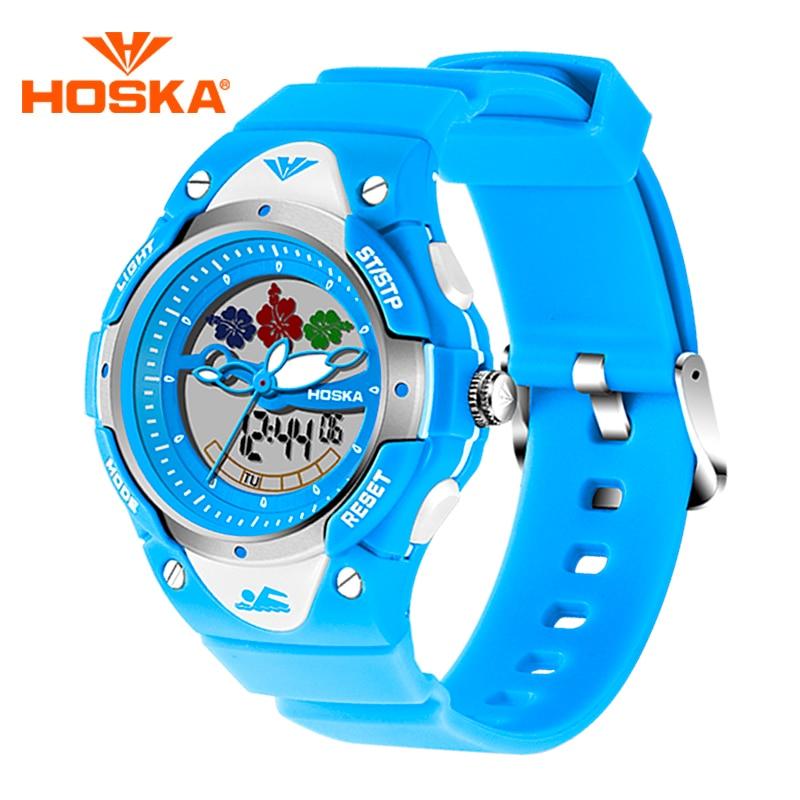 Fashion Children Brand HOSKA Digital Analog Dual Display Watch With 50M Waterproof Chronograph Student Luminous Wrist