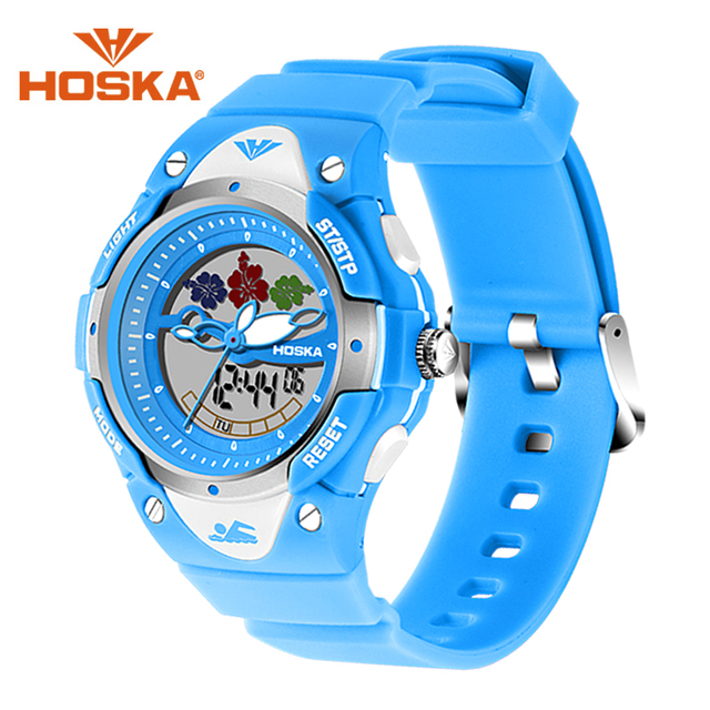 Fashion Children Brand HOSKA Digital Analog Dual Display Watch With 50M Waterproof Chronograph Student Luminous Wrist Watches