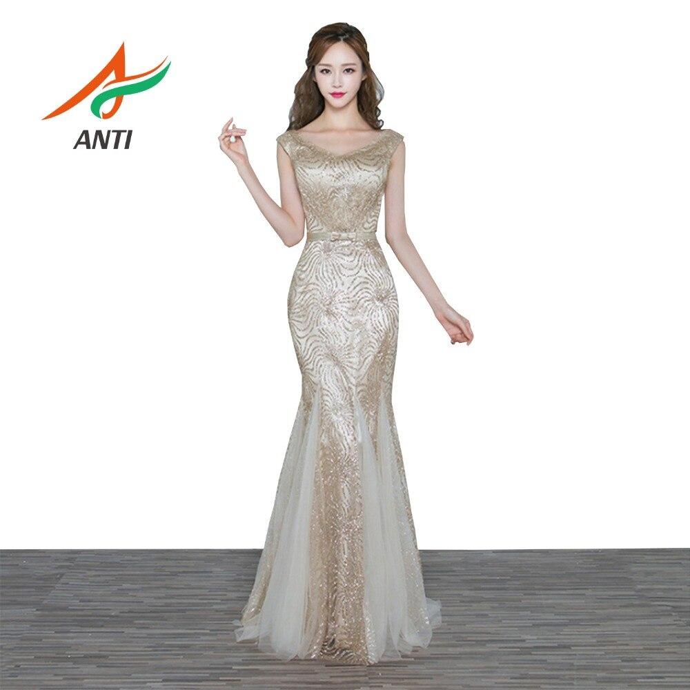 ANTI Arabic Pattern Champagne Evening Dresses Turkish Sleeveless Women Long Celebrity Party Gowns Abendkleider Robe De Soiree