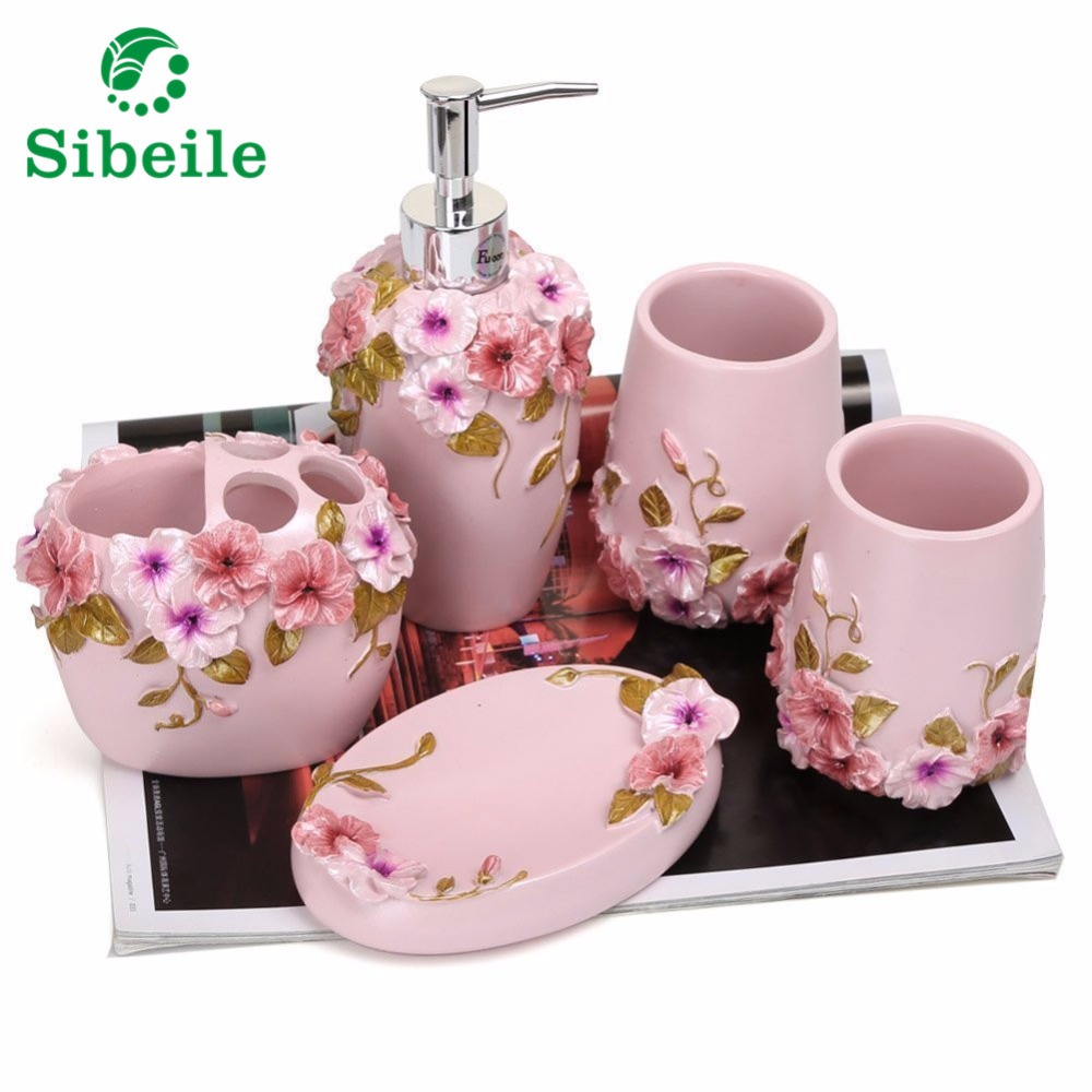 Resin 5pc Bathroom Accessories Set Soap