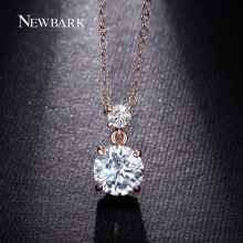 NEWBARK Round Necklace Cubic Zirconia Necklaces & Pendants Hearts & Arrows Cut Colar 4 Prongs Setting Jewelry Engagement Gift