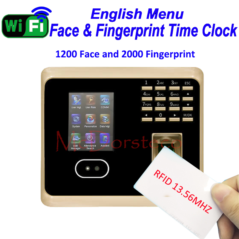 1200 Face ZK Wifi Face Time Attendance Employee RFID 13.56mhz IC Card Time Record System Tcp/ip Face And Fingerprint Time Clock
