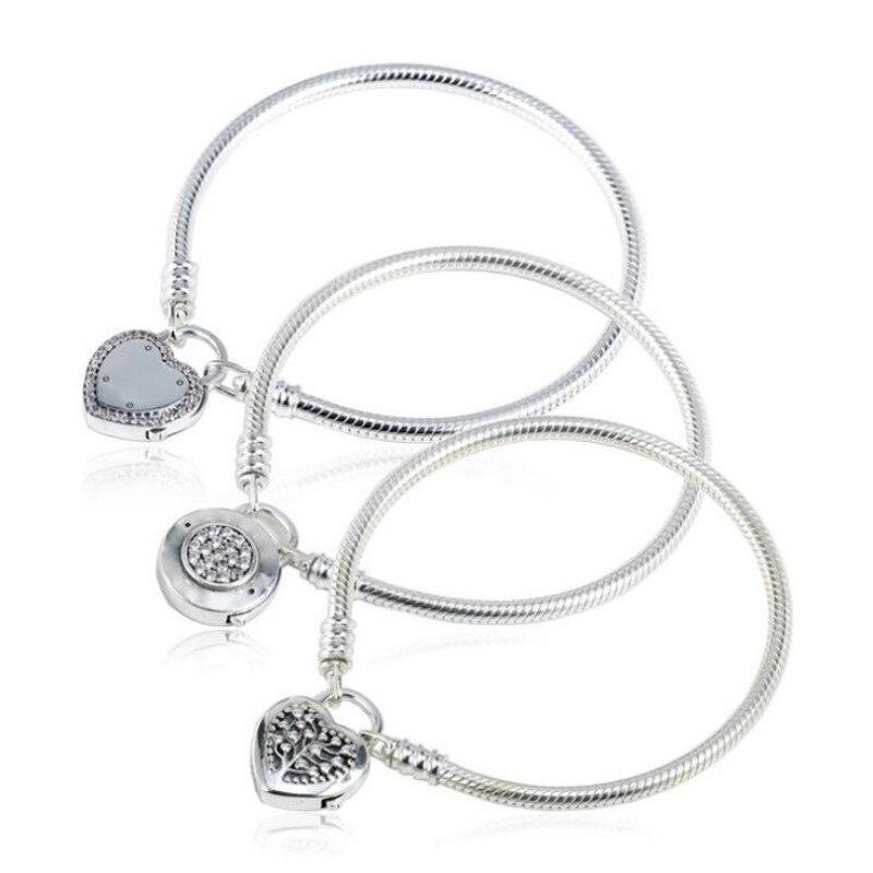 925 bijoux en argent sterling Europe saint valentin les nouveaux Bracelets bricolage de base chaîne amour coeur serrure femelle serpent os chaîne