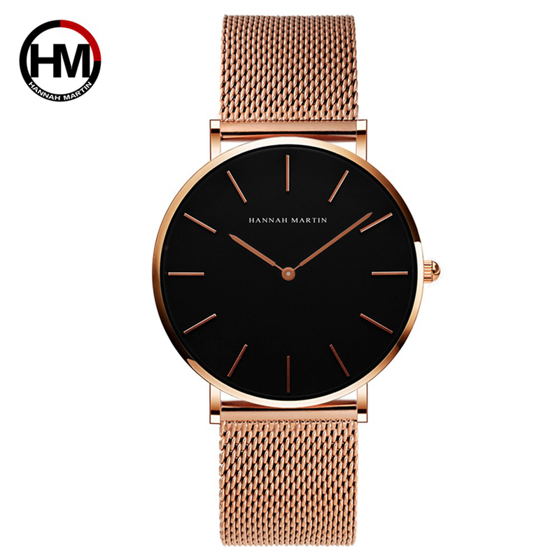Hannah Martin Quartz Watch Women 2019 Fashion Waterproof Women Watches Rose Gold Wrist Watches For Women Steel Montre Femme New