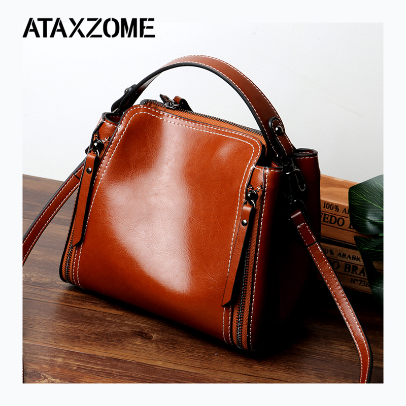 Ataxzome Female Shoulder Large Handbags For Women Big Bags Oil Wax Tote With Pu Leather Woman Bags Famous Designer Ladies Tote Top-handle Bags