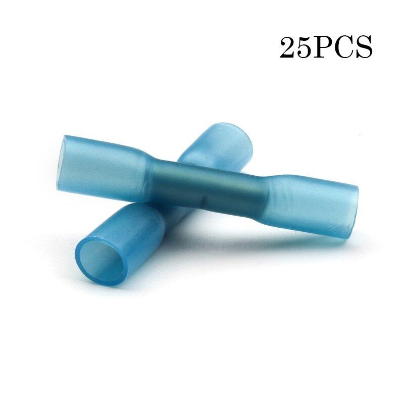 25Pcs Spade Female Heat Shrink Blue Wire 16-14Gauge Connectors Crimp Terminals