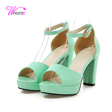 2017 New Women Sandals Summer Sandal High Heel Square Block Heel Platform Peep Toe PU Leather Dress Party Cool Sexy Ladies Shoes