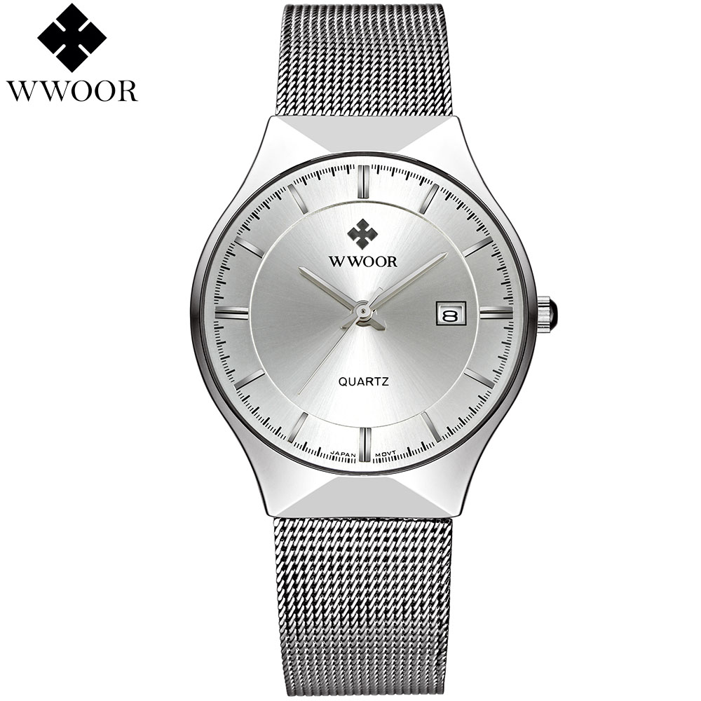 Ultra luxury thin stainless steel watch 4