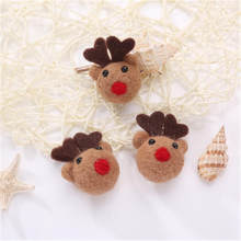 1pcs Mini Cartoon elk Felt Crafts lovely Small animals fruit shape DIY Multiuse Christmas Tree Deco Brooch Children Hair Band(China)