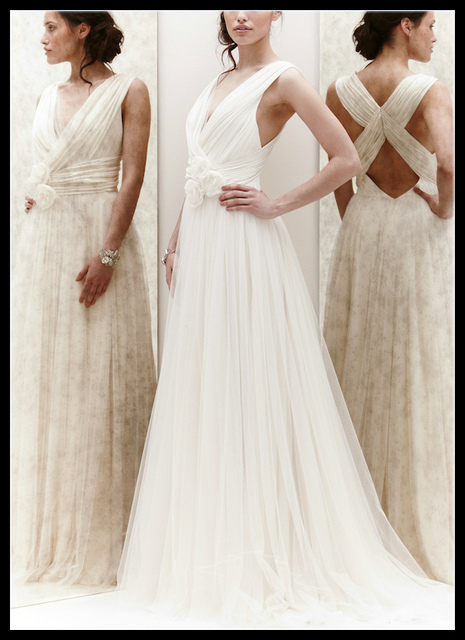 2017 Jenny Packham White Ivory Summer Tulle Beach Wedding Dresses Sheer V Neck Bridal Gowns