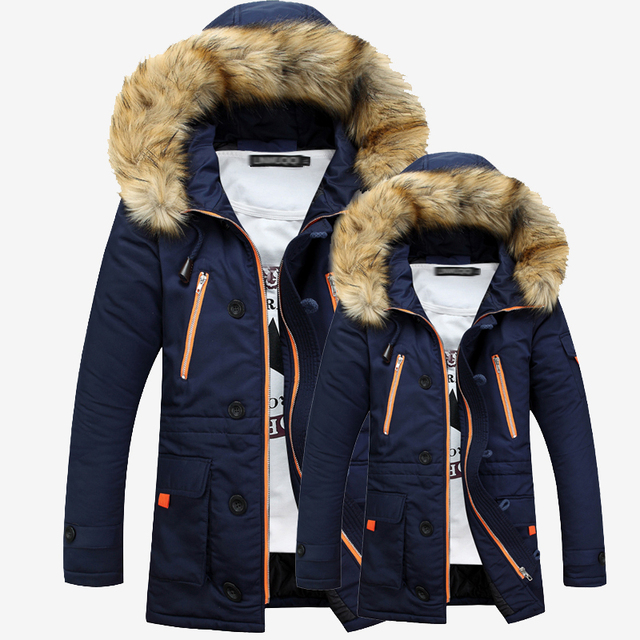 2016 New Fashion Fur Hooded Doudoune Homme Hiver Thick Warm Winter Jackets Mens