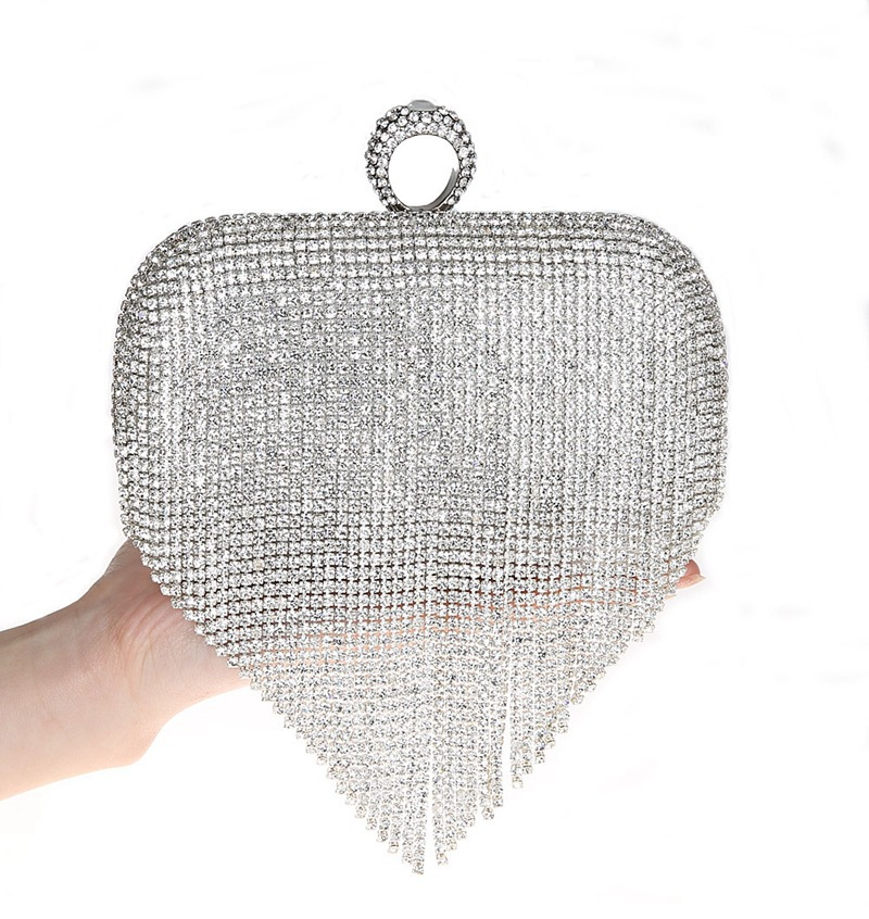 2017 Tassel Rhinestone Finger Ring Evening Bags Diamonds Wedding Handbags Women Day Clutch Mini Purse Bag With Chain Mixed Color new sequin clutch bag finger ring evening bag hard box clutch chain sshoulder bag crossbody bags for women purses and handbags