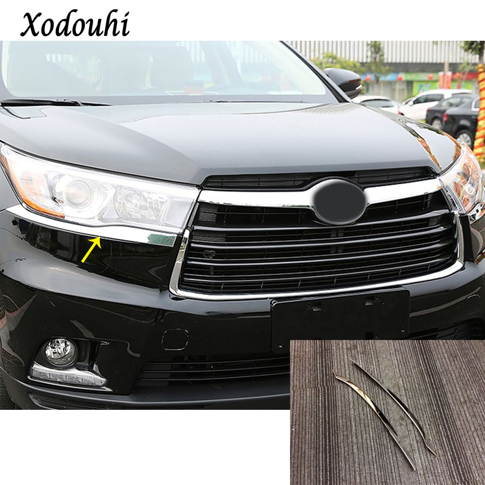 For Toyota Highlander 2015 2016 2017 car front head Light ABS Chrome lamp detector frame stick styling eyebrow cover trim 2pcs