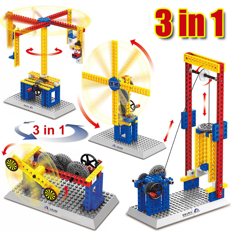 Power Machinery 3 in 1 Building Toy Blocks Technic Educational Toy Electric Mechanical Bricks Compatible lepin toys for children treasure in cage ru bun lock children puzzle toy building blocks