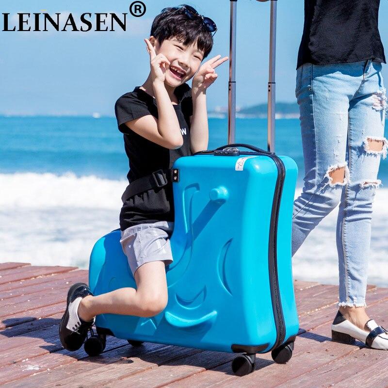 LEINASEN mignon poney dessin animé enfants roulant bagages valise à roulettes roues étudiants multifonction chariot enfants sac de voyage