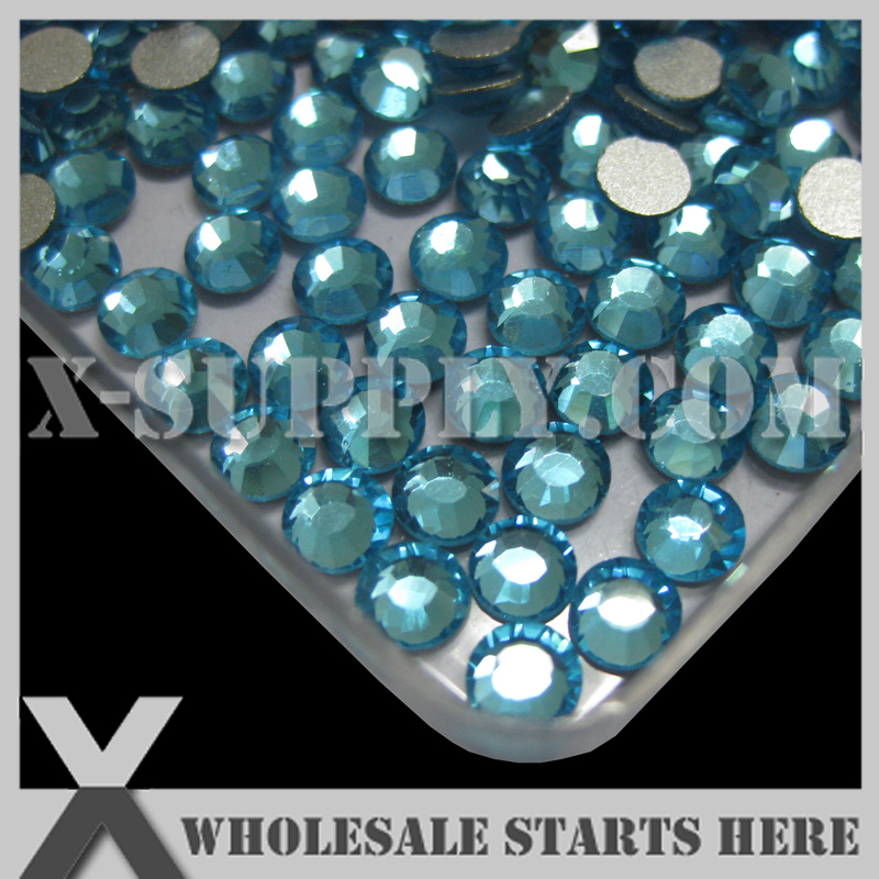 (SS3-SS20) Aquamarine Flat Back Rhinestones,Silver Foiled Back, Non-HotFix,Used For Nail Art,Phone Case,Glue on Crafts
