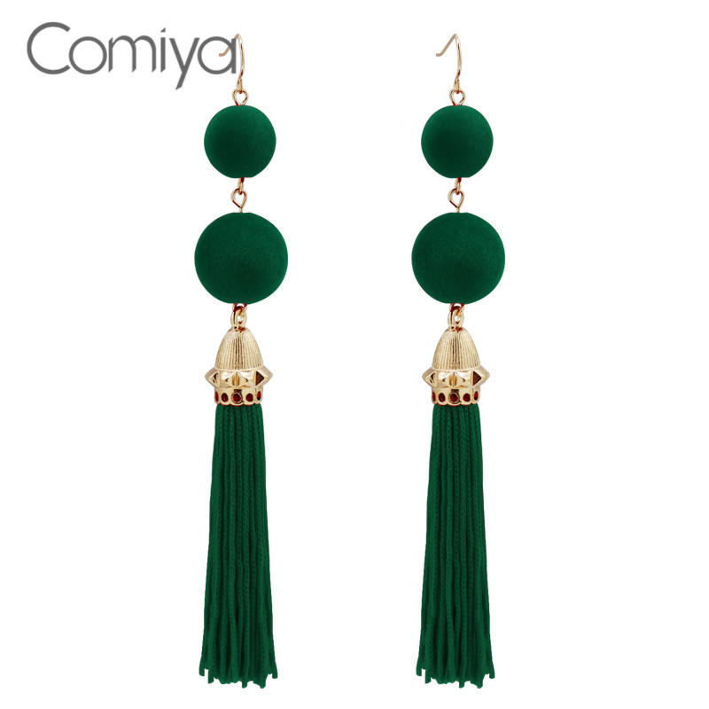Comiya Ethnic Long Earrings Party Accessories Zinc Alloy Orecchini Donna Green Tassel Line Dangle Earring For Women <font><b>Aliexpress</b></font> image