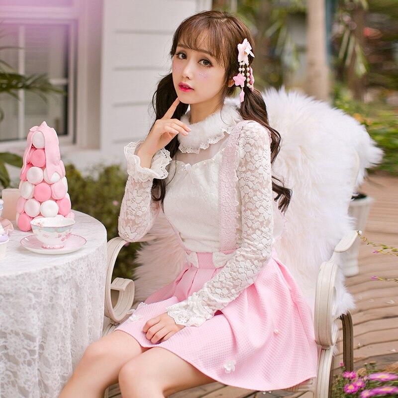 Princesse douce lolita chemise blanche bonbons pluie à manches longues blouse dentelle broderie col de fourrure clou perle arc décoration C16CD6157