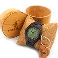 BOBO PÁSSARO F03 Preto Vintage Relógios De Madeira Com Couro Real Design Da Marca Top Relógios de Quartzo Dos Homens da banda Com Rodada de Bambu caixa