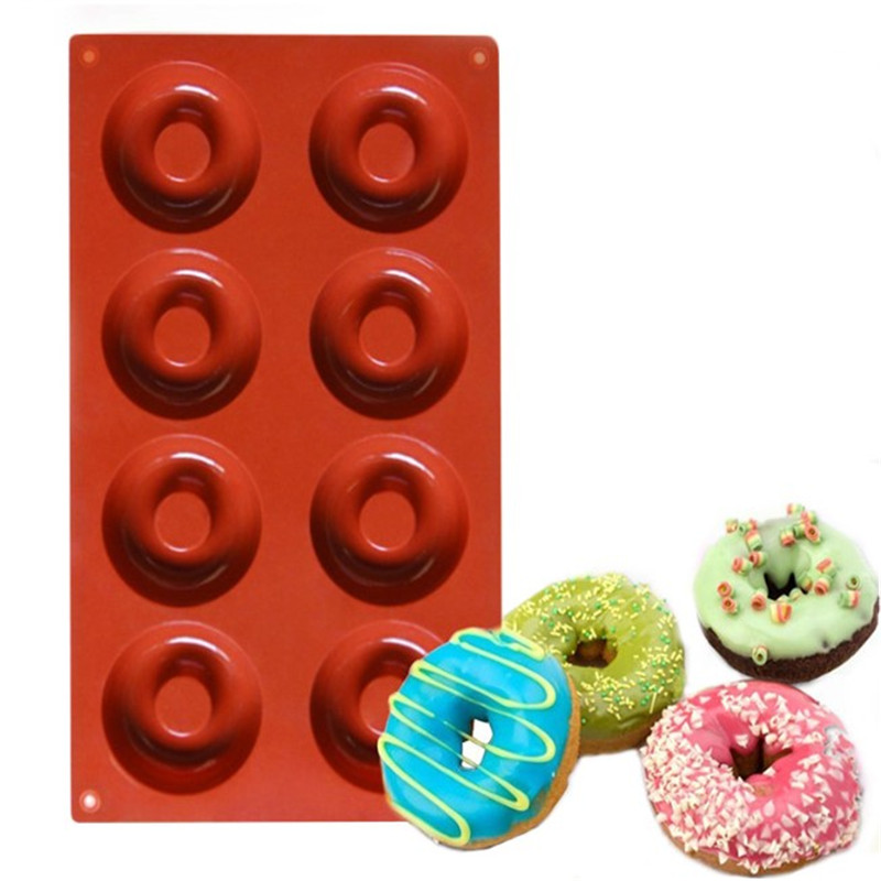 4YANG Silicone 8 18 Cavity Donut Doughnut Baking Mold Cake Chocolate Candy Soap Silicone Mould Cake Decorating Tools in Cake Molds from Home Garden