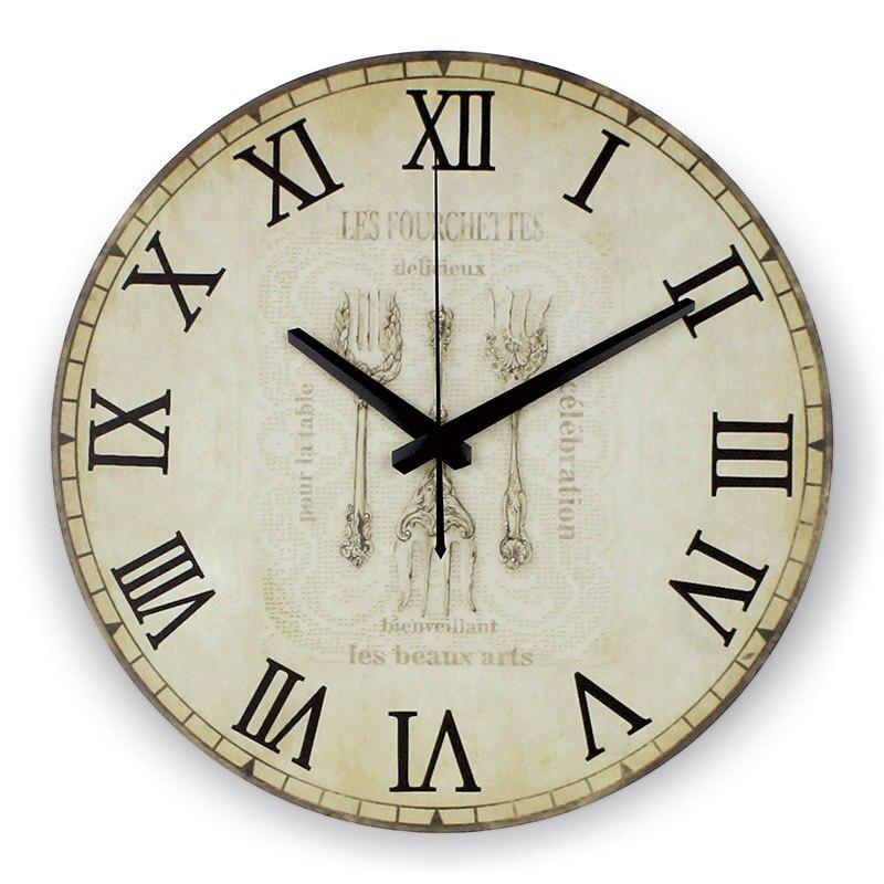 US $15.96 35% di SCONTO|Da cucina di grandi dimensioni orologio da parete  decorativo assolutamente silenzioso casa ore decorazione orologio da parete  ...