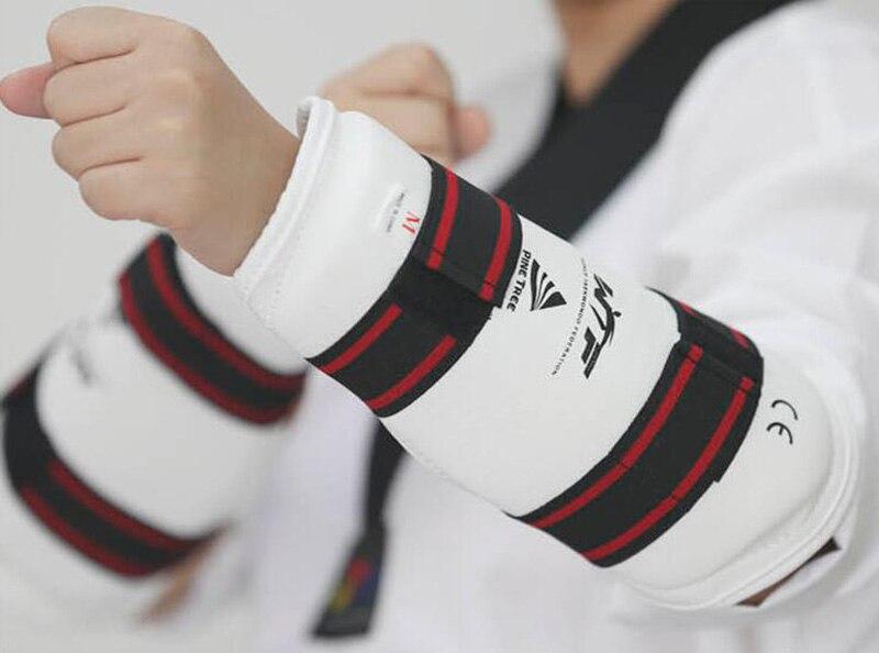 Prix pour 4 pcs Taekwondo protecteur WTF Caneleira Shin Garde Taekwondo Bras Garde Jambe Genouillères Taekwondo-protecteur Haute De Boxe