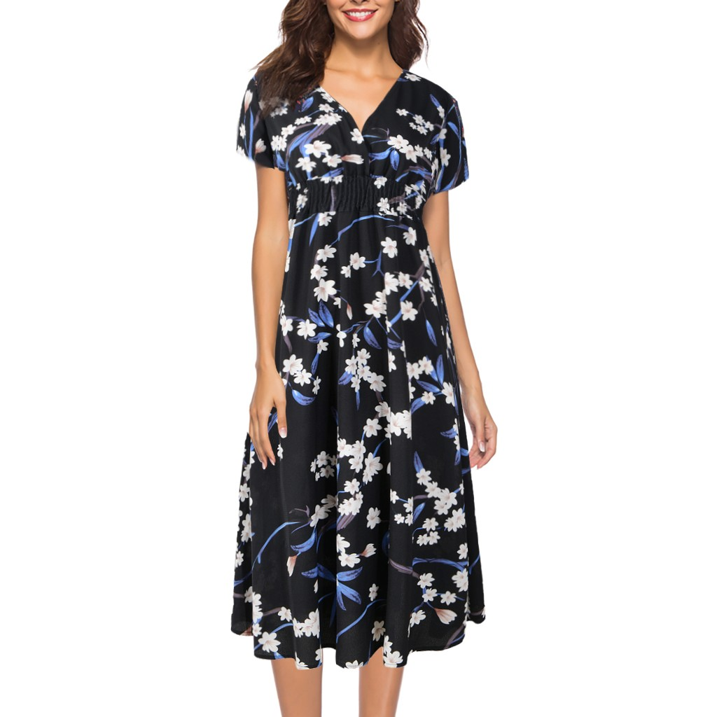 CHAMSGEND Hot Women's Chiffon Beach Dress Print V-neck Short Sleeve Dress Casual Fashion Elegant Loose Beach Dress(China)