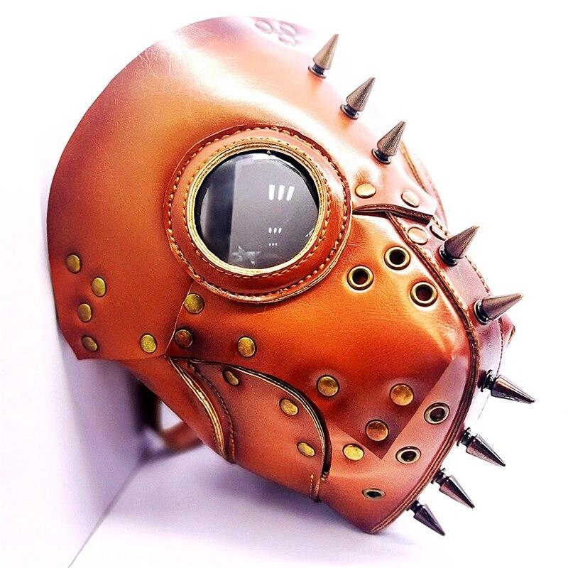 Orange la peste docteur oiseau masque pic Rivet Steampunk masque gothique PU cuir masque Halloween Cosplay accessoires accessoires