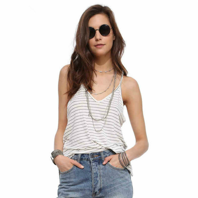 2018 Summer Women Tops T-Shirts Sexy Back Open Striped Camis Tops Deep V-Neck Off Shoulder Sleeveless Tanks Tops for Beach Party