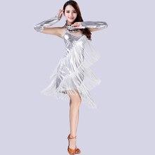 Латинская танцевальная сцена Производительность вечерние кисточкой Латинской юбка Для женщин рукавов Латинской ча-ча Самба костюмы для румбы с перчатками