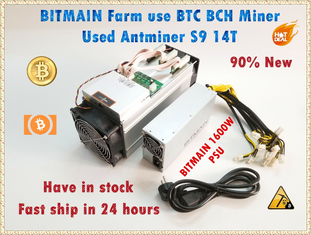 Usado S9 14 T Com Bitmain AntMiner APW3 ++ 1600 W PSU BCH Asic BTC Miner Better Than S9 Antminer s11 S15 T15 T9 WhatsMiner M3 M3X
