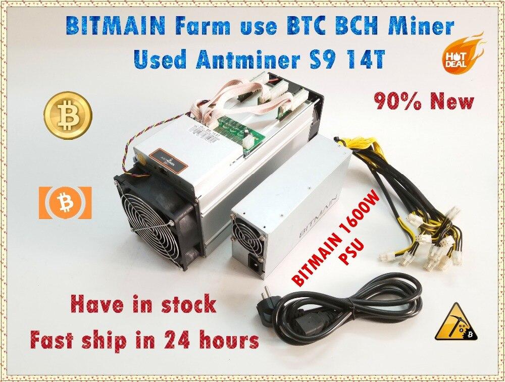 Utilisé AntMiner S9 14T avec Bitmain APW3 + + 1600W PSU Asic BTC BCH Miner mieux que Antminer S9 S11 S15 T15 T9 what sminer M3 M3X