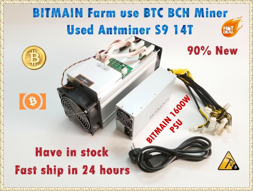 Utilizzato AntMiner S9 14 T Con Bitmain APW3 + + 1600 W PSU Asic BTC BCH Minatore Meglio di Antminer S9 s11 S15 T15 T9 WhatsMiner M3 M3X