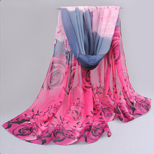 New 2017 scarf han flowers roses and scarves Quality goods printed chiffon polyester hot sell Beach silk