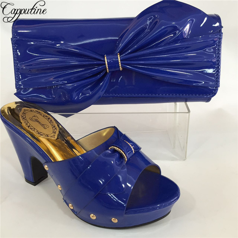 Capputine African Desgin PU Leather Shoes And Purse Set New Italian Woman High Heels Shoes And Bags To Match Set BL695C capputine new arrival fashion shoes and bag set high quality italian style woman high heels shoes and bags set for wedding party