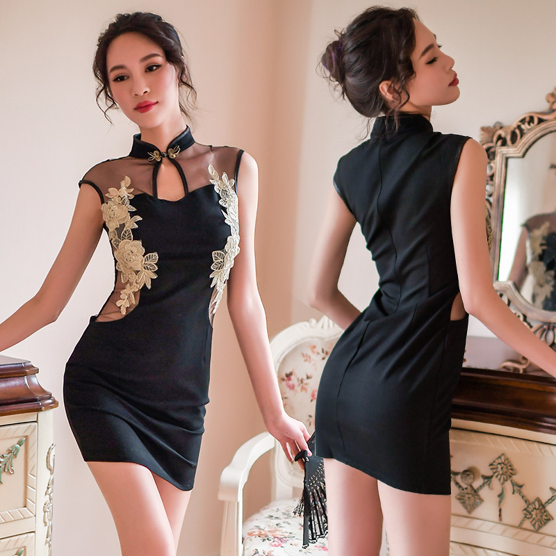New woman Sexy Babydolls Porn <font><b>Chinese</b></font> Cheongsam Uniforms Exotic Costumes Erotic Embroidery Stand Collar Exotic Apparel <font><b>Sex</b></font> <font><b>Dress</b></font> image