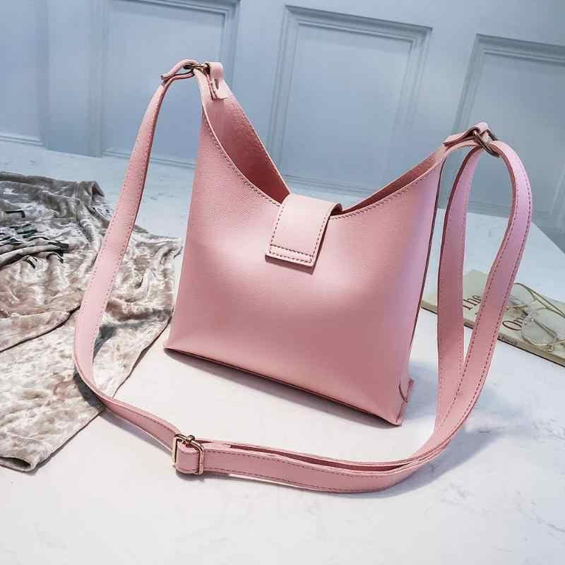 2Pcs/Set Elegant Women Pearls Shoulder Bags Ladies PU Leather Handbags Fashion Solid Color Messenger Bags for Women Handbag