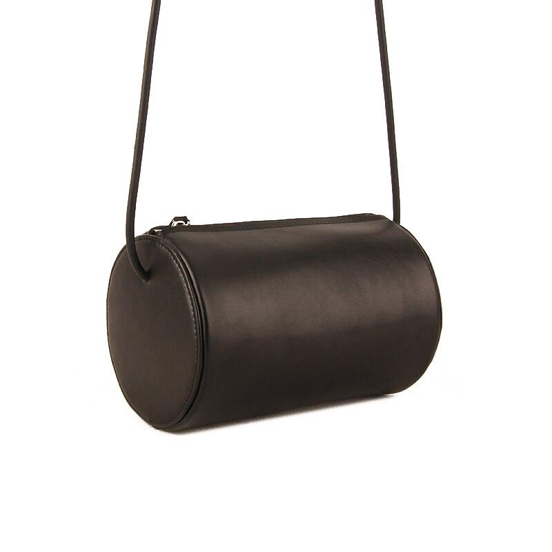 Genuine Leather Women Bag Cylinder Bag Messenger Bag Crossbody Shoulder Bag Handbag Travel Bag