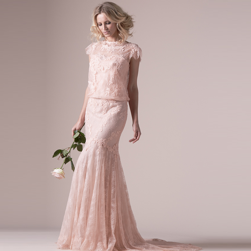 Blush Pink Lace Wedding Gowns