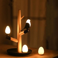 LIGINWAAT Magpie Wooden LED Night Light USB Rechargeable Motion Sensor Table Lamp For Bedroom Sconce Intelligent Night Lamp