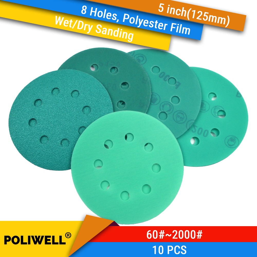 10PCS 5 Inch(125mm) 8-Hole Polyester Film Wet/Dry Hook & Loop Flocking Green Sanding Discs Paint Abrasive Sandpaper, 60#-2000#
