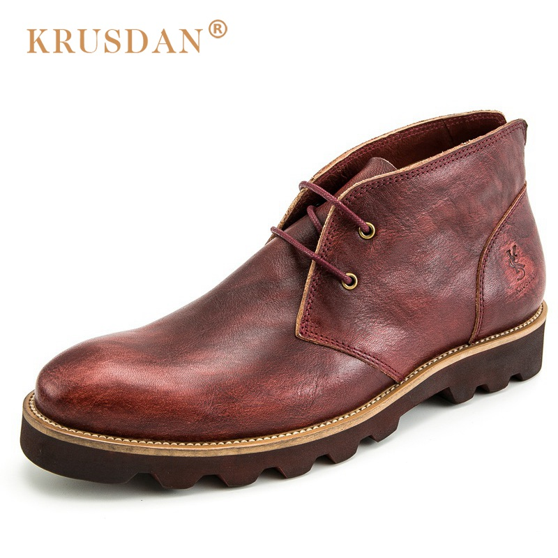 KRUSDAN Luxury Brand Platform Man Handmad Outdoor Ankle Boots Genuine Leather Round Toe Classic Men's Cowboy Martin Shoes купить